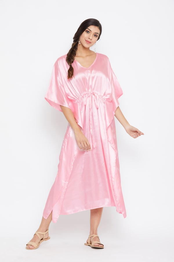 Long Satin Nightwear Kaftan Maxi Dress - Plus -Crystal Rose - Front