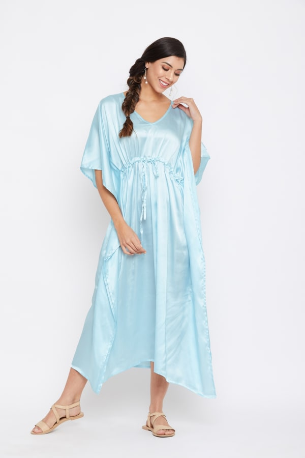 Long Satin Nightwear Kaftan Maxi Dress - Plus - Pastel Blue - Front