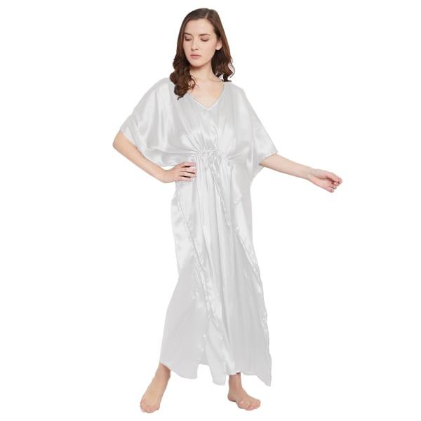 Long Satin Nightwear Kaftan Maxi Dress - Plus - White - Front