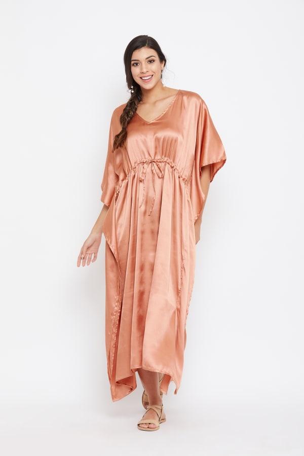 Long Satin Nightwear Kaftan Maxi Dress - Plus - Terracotta - Front