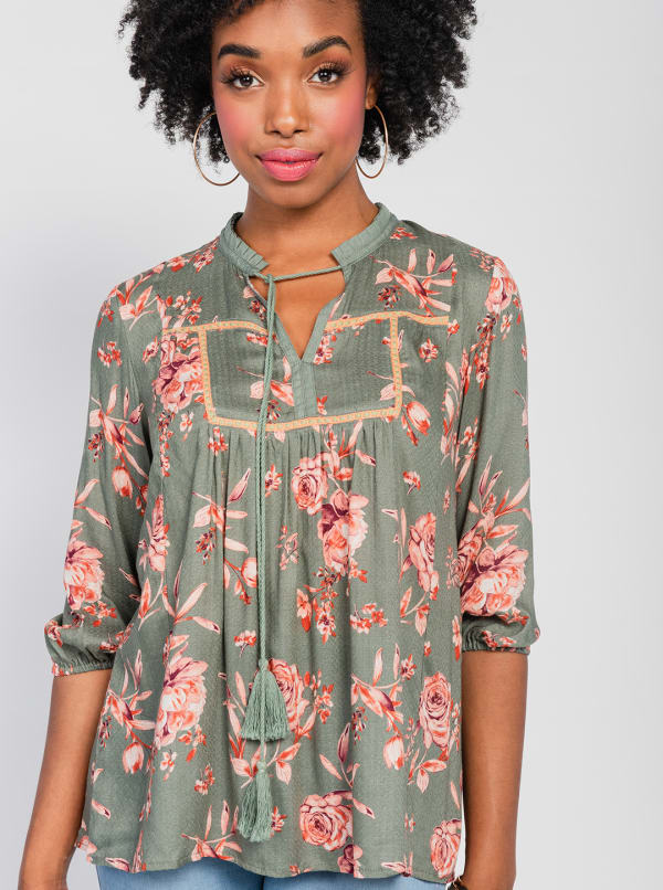 One World 3/4 Bubble Sleeve Peasant Top