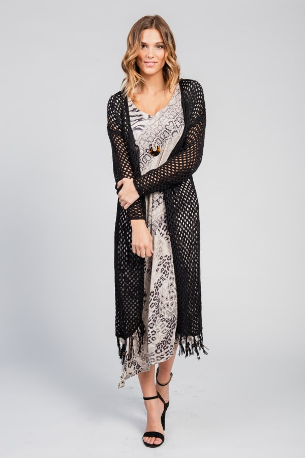 One World Long Sleeve Crochet Duster With Beads - Black - Front