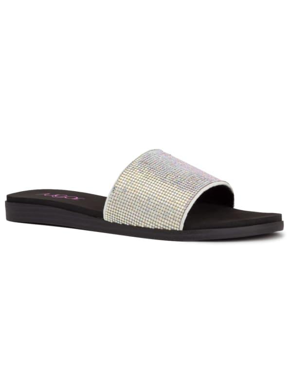 Sahara Slide Sandal - White / Silver - Front