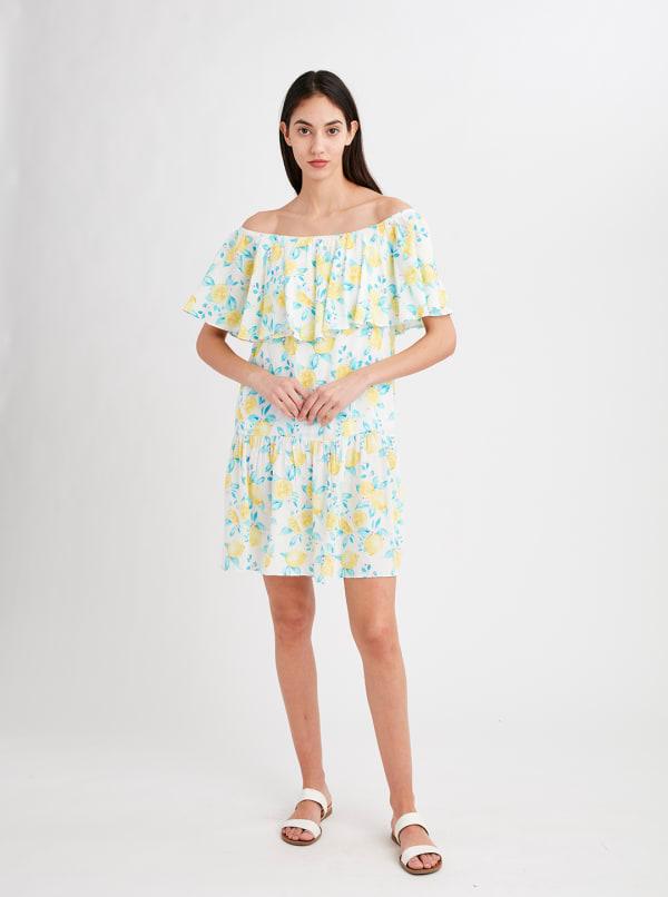 Stella Parker Cecilia Off the Shoulder Drop Waist Dress - Lemon Season - Front