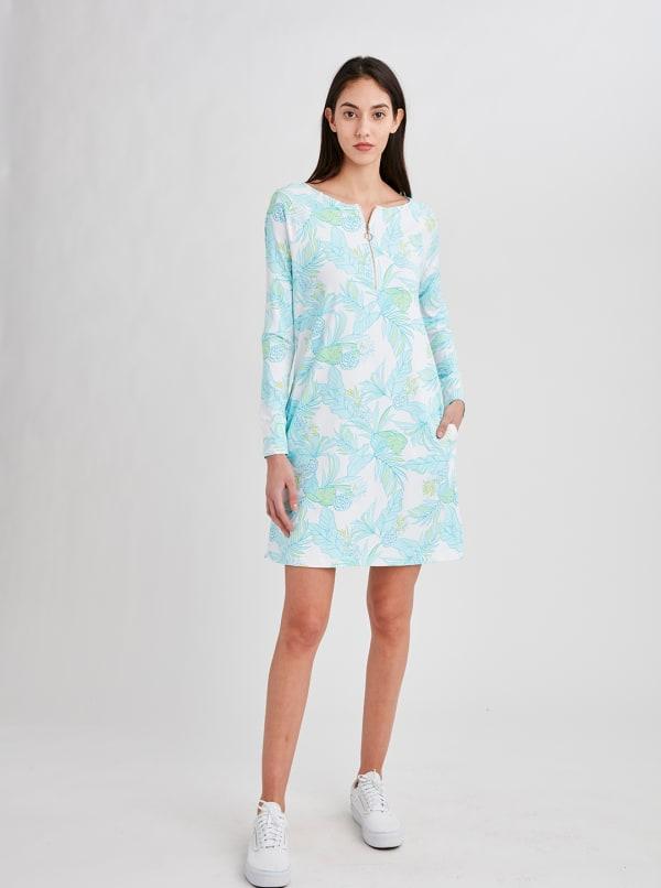 Stella Parker Hazel Zip Neck Dress - Misty Field - Front