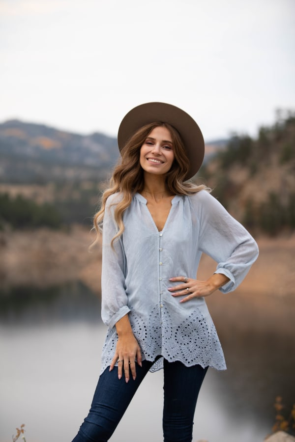 Embroidered Button Front Blouse - Misses