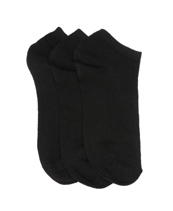 Three Pack No Show Active Sock - Black - Front