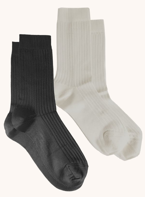 Two Pack Ribbed Crew Socks - Black / Grey - Front