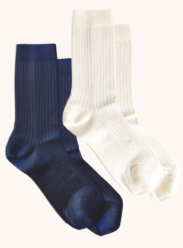 Two Pack Ribbed Crew Socks - Navy / Ivory - Front