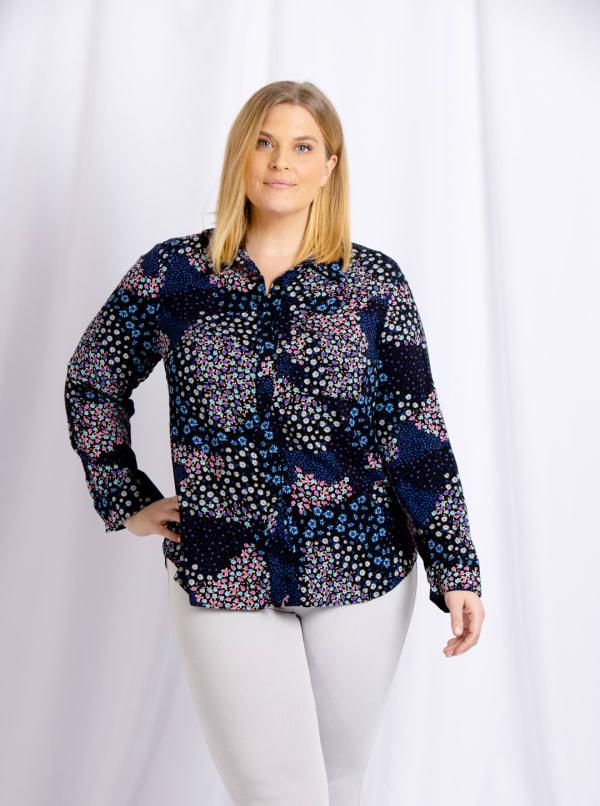 Cooper & Ella Front Button Long Sleeve Harlow Shirt - Plus