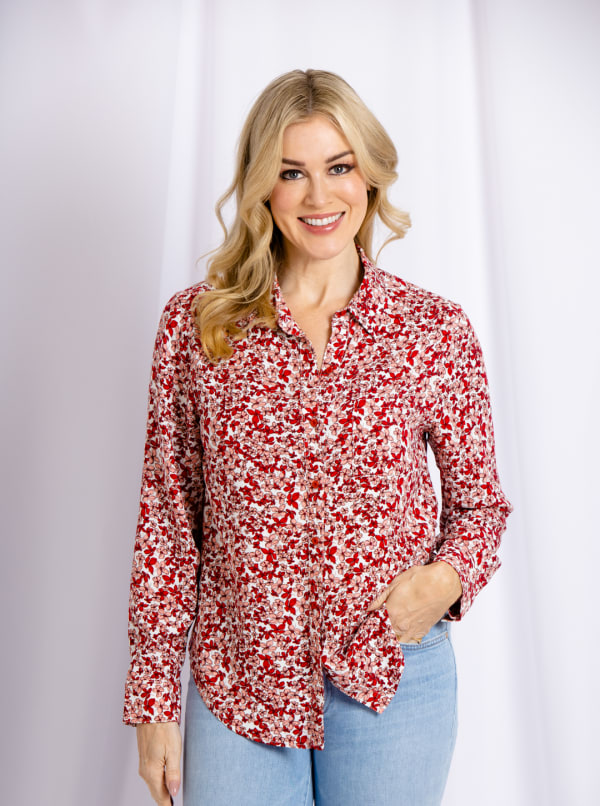 Cooper & Ella Front Button Long Sleeve Harlow Shirt - Coral - Front