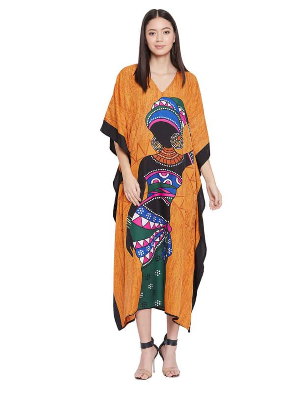 Loose Polyester Kimono Kaftan Dress - Plus - Ochre - Front