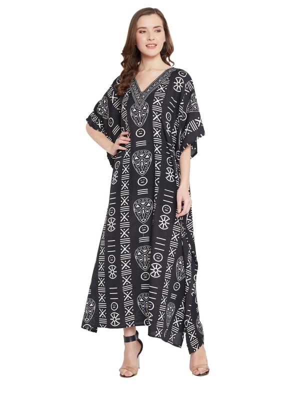 Luxurious Polyester Kimono Loose Caftan - Plus - Black - Front