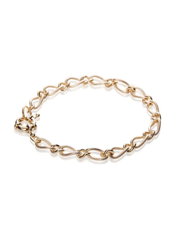 14K Gold Plated 7 Inch Fancy Figaro Chain Bracelet