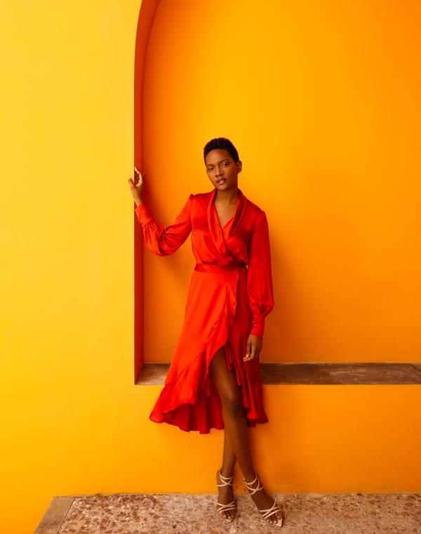 Emma Wrap Dress - Crimson - Front