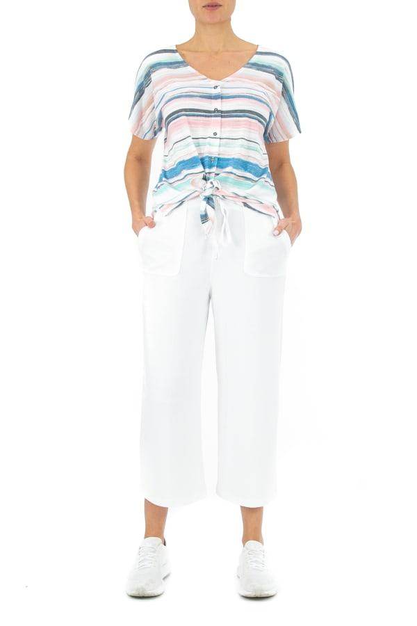 Zac & Rachel Stripe Button Front Knit Top - Watercolor Stripe - Front