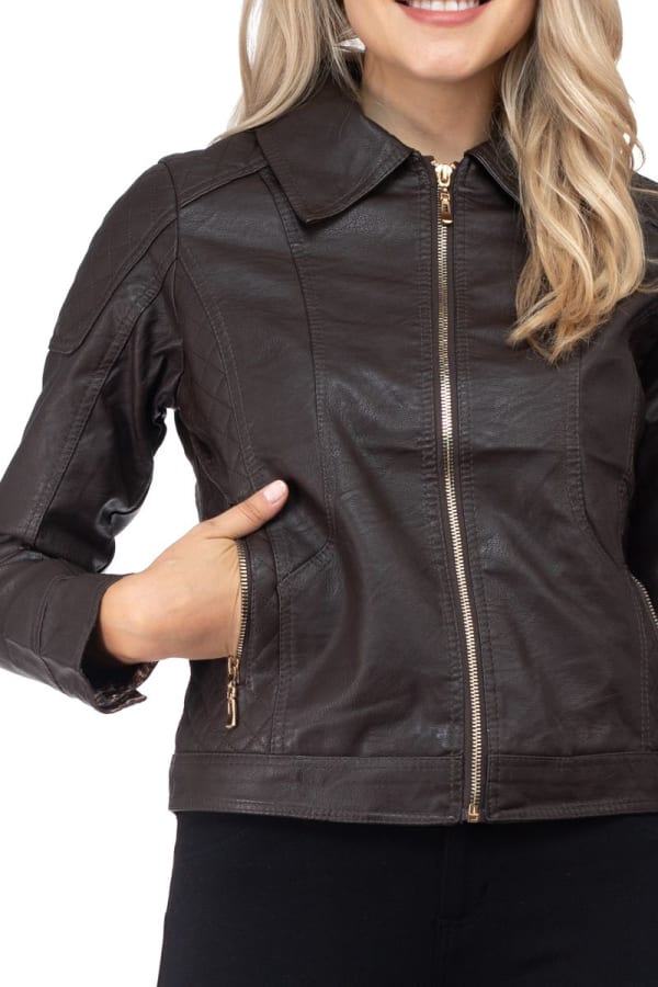 Vegan Leather Jacket with Quilted Detail and Leopard Lining - Dark Coffee - Front