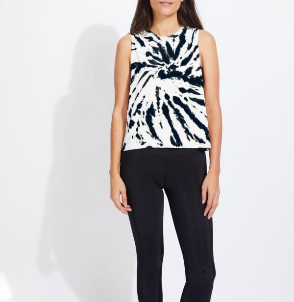 Sage Audrey Seamless Tie Dye Tank Top - Black - Front