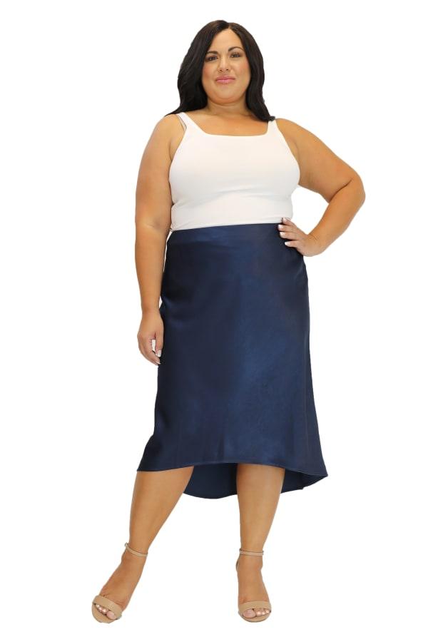 Maree Pour Toi Charmeuse High-Low Skirt - Plus
