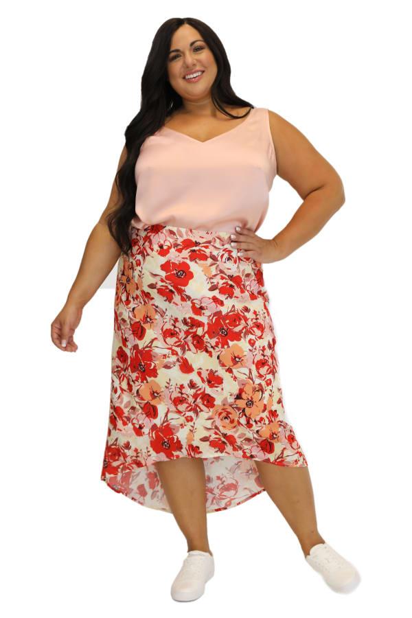 Maree Pour Toi Floral Print High Low Skirt - Plus