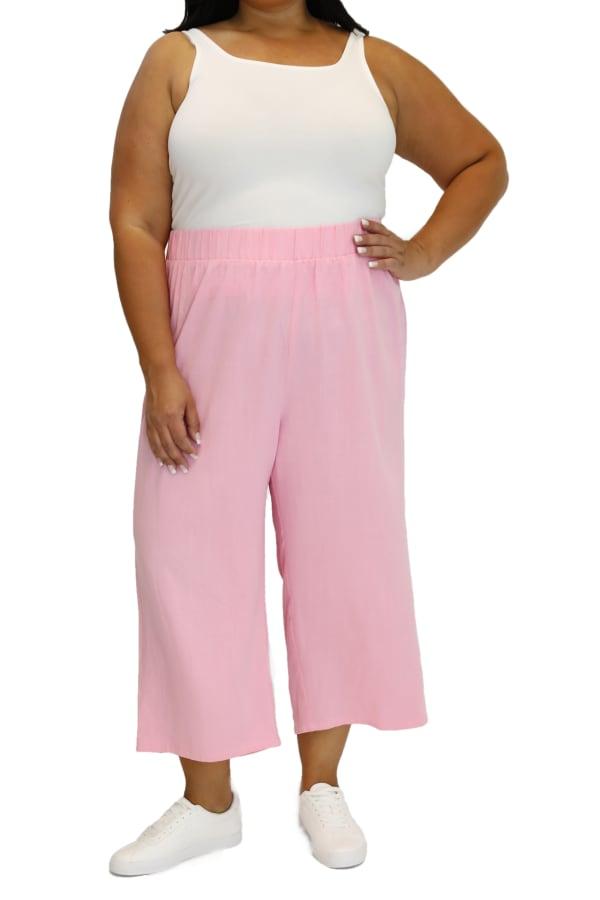 Maree Pour Toi Wide Leg Linen Crop Pant - Plus