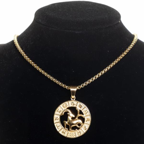 Dell Arte by Jean Claude Capricorn Zodiac Sign Pendant Necklace - Gold - Front
