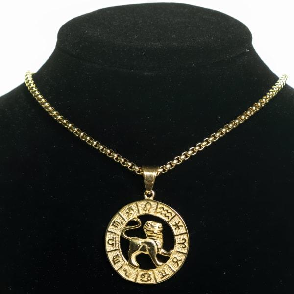 Dell Arte by Jean Claude Lion Zodiac Sign Pendants Necklace - Gold - Front