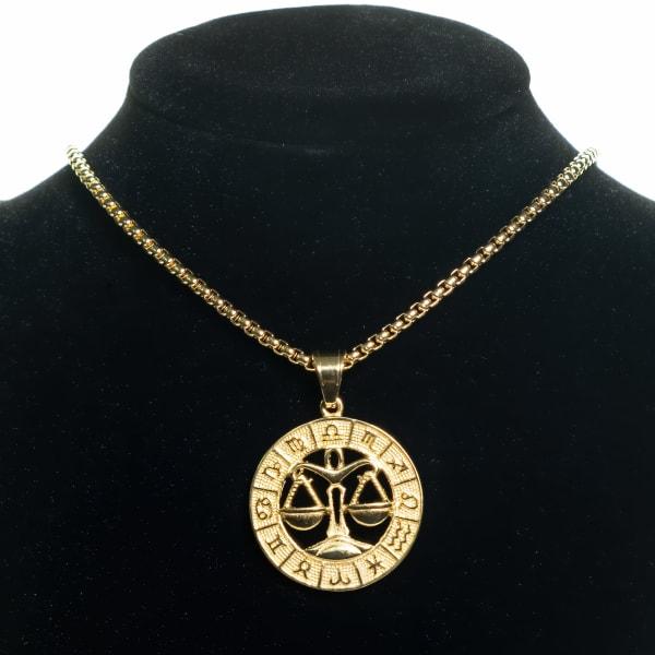Dell Arte by Jean Claude Libra Zodiac Sign Pendants Necklace - Gold - Front