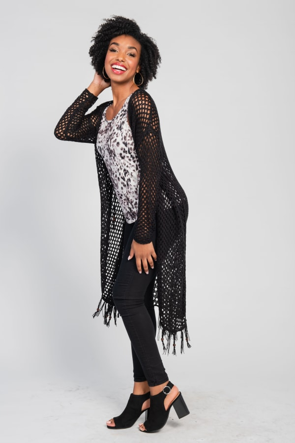 One world Long Sleeve Crochet Duster With Beads - Plus - Black - Front
