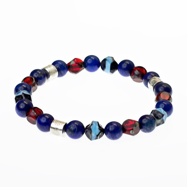 Dell Arte by Jean Claude Blue Lapis Crystal Bead Bracelet - Blue / Red / Silver - Front