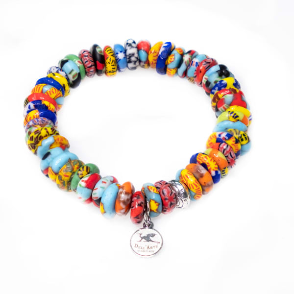 Dell Arte By Jean Claude Krobo Colorful Paradise Recycled Glass Bead Bracelet - Multicolor - Front