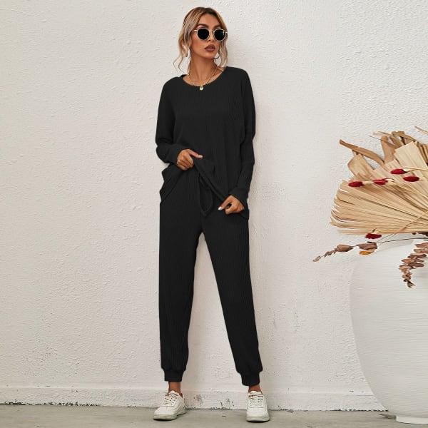 Lounge Long Sleeve Draw String Pant Set - Black - Front