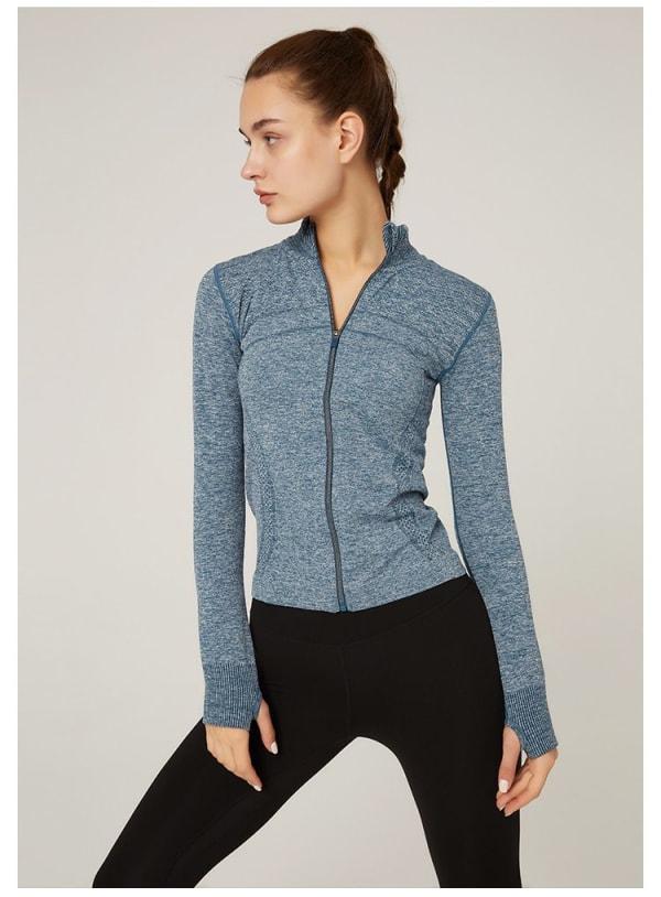 Zip Front Mock Neck Thumbhole Jacket - Blue - Front