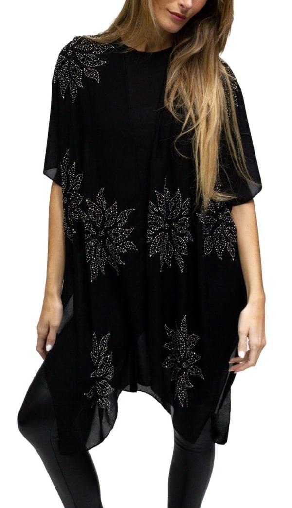 Flower Rhinestones Solid Kimono - Black / Silver - Front