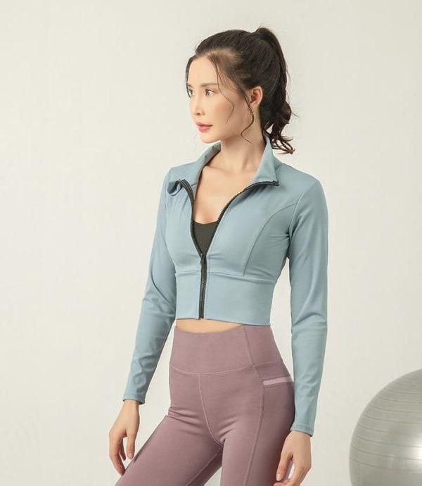 Zip Front Jacket With Mock Neck - Aqua - Front