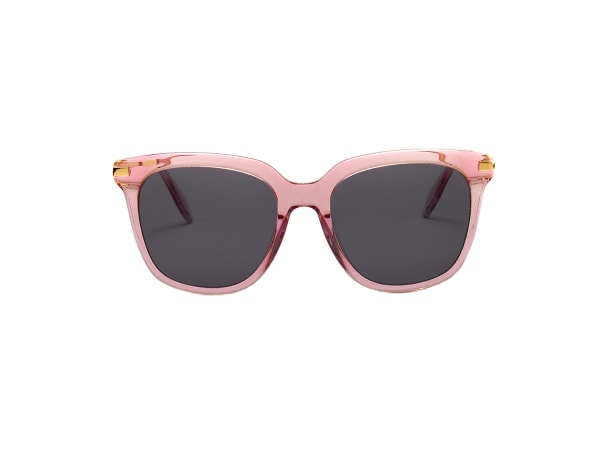 Dione Wide Fit Winged Sunglasses - Transparent Pink / Dark Grey - Front