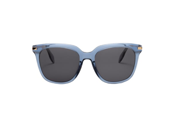 Dione Wide Fit Winged Sunglasses - Transparent Blue / Dark Grey - Front