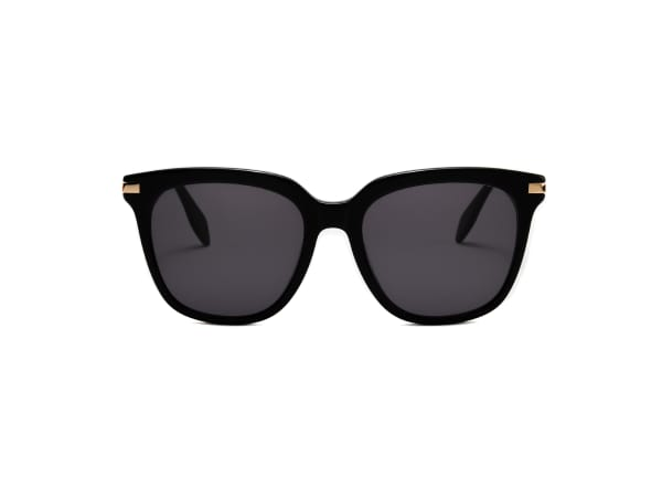Dione Wide Fit Winged Sunglasses - Black / Dark Grey - Front