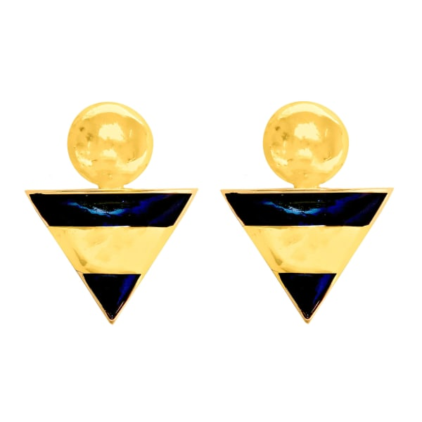 Brass Gold Plated Triangle Dangle Earrings