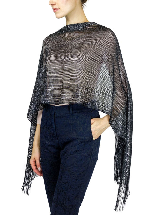 Metallic Dressy Shawl With Fringe - Black / Silver - Front