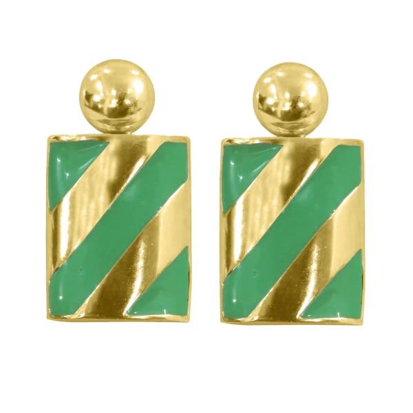 Brass Dangle Colourblock Rectangle Earrings - Gold - Front