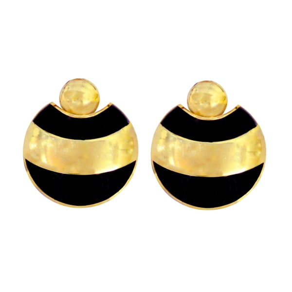 Brass Gold Plated Round Dangle Earrings - Gold - Front