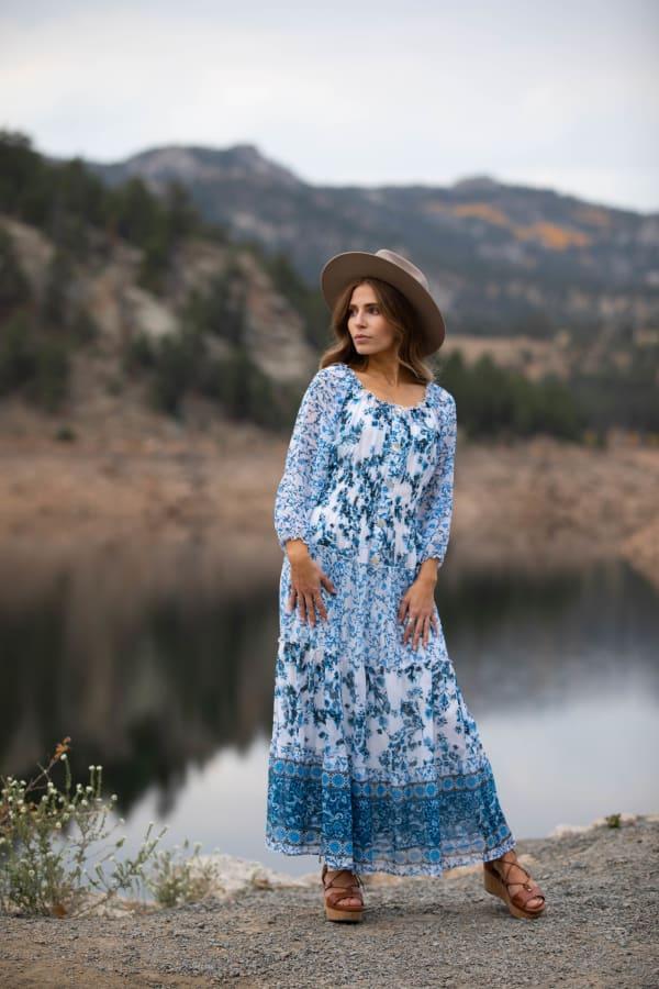 Veronica Ditsy Blue Floral Peasant Dress - Misses - Indigo - Front