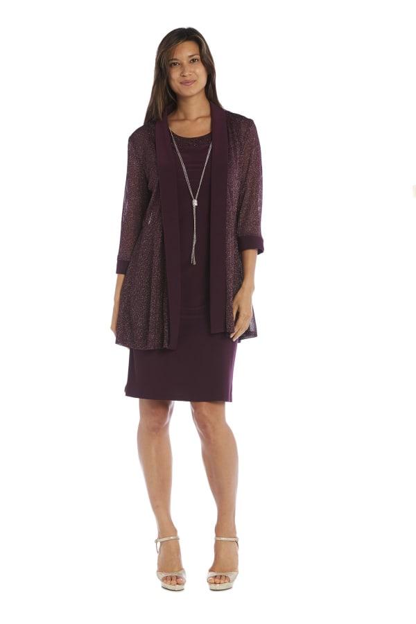 Short-Sleeved Dress And Metallic Detail Cardigan Set - Petite