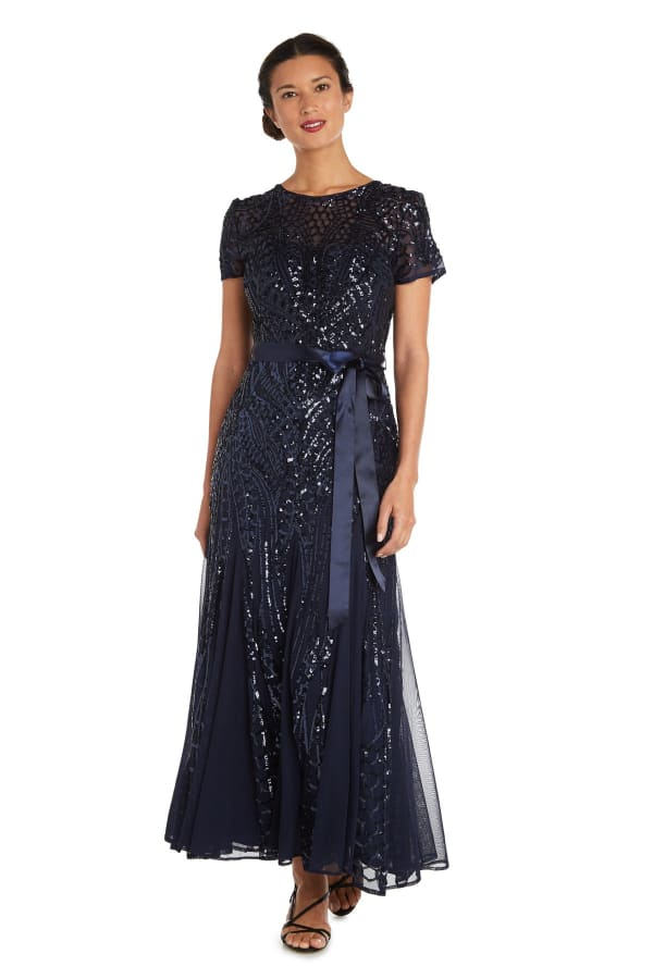All-Over Embellishment And Satin Waist Tie Maxi Dress - Petite