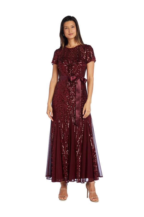 All-Over Embellishment And Satin Waist Tie Maxi Dress - Petite - Merlot - Front