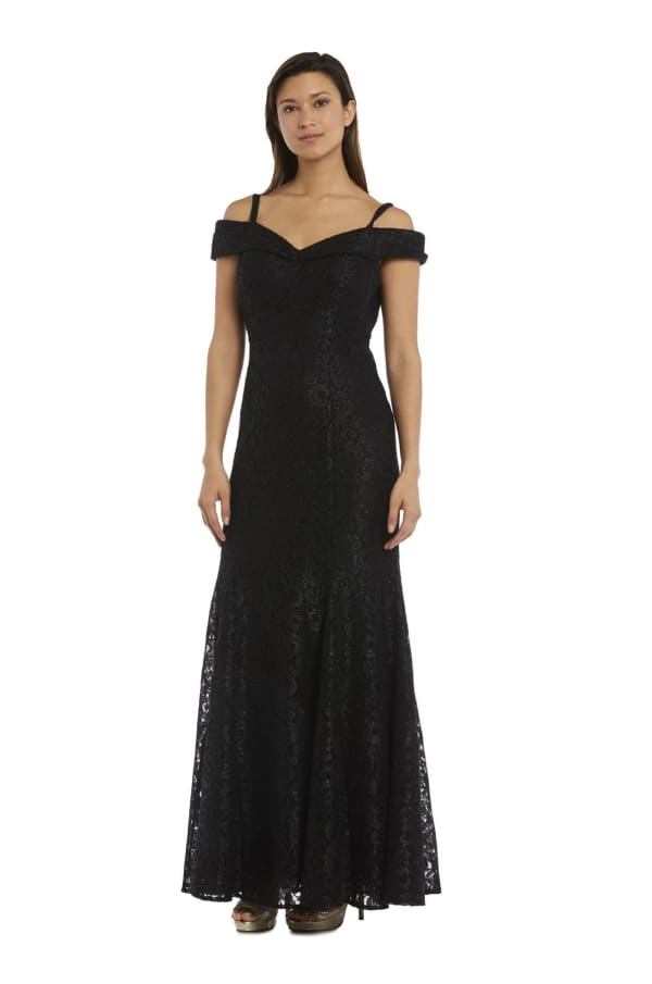 Shimmer-Lace Gown With Off-the-Shoulder Sleeves And Fishtail Dress - Petite - Black - Front