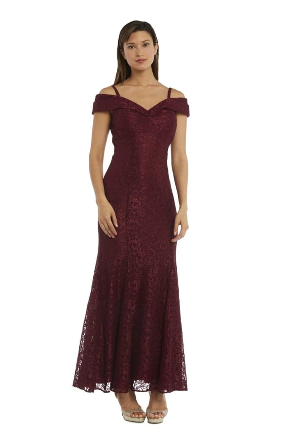 Shimmer-Lace Gown With Off-the-Shoulder Sleeves And Fishtail Dress - Petite