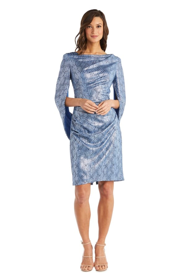 Print Foil Knit Drape Back Dress - Petite