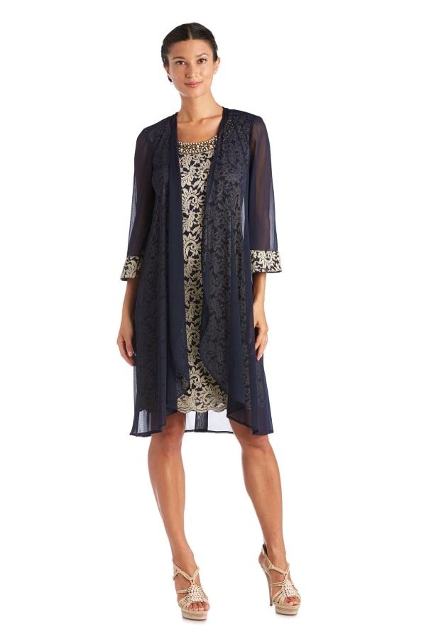Two Piece Matte Chiffon Duster Jacket Dress With Two Tone Lace Tank Dress - Petite - Navy / Gold - Front